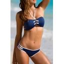 Sexy Halter Cutout Sides Plain Bikinis Set
