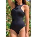 Simple Plain Zip Fly Front Open Back One Piece Swimwear