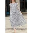 Round Neck 3/4 Sleeve Elegant Geometric Printed Lace Maxi Dress