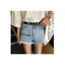 High Rise Letter Embroidered Fringe Hem Denim Shorts Hot Pants