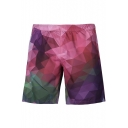 Loose Geometric Printed Color Block Elastic Waist Beach Casual Shorts with Pockets