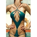 Sexy Halter Hollow Out String Sides Plain One Pieces Swimwear