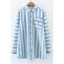 Color Block Striped Printed Lapel Collar Long Sleeve Shirt with Single Pocket