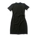 Casual Women's Round Neck Short Sleeve Plain Midi T-Shirt Dress