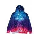 Color Block Galaxy Printed Long Sleeve Sports Hoodie