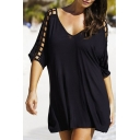 Summer's Hollow Out Half Sleeve V Neck Plain Oversize Mini T-Shirt Dress