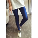New Fashion Bright Silk Plain Skinny Leggings