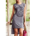 Tribal Elephant Printed High Low Hem Sleeveless Round Neck Asymmetric Dress