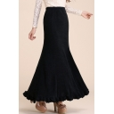 High Rise Elastic Waist Knit Plain Maxi Bodycon Skirt