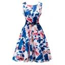 Vintage Round Neck Sleeveless Floral Printed A-Line Flare Midi Dress
