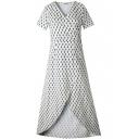 V Neck Short Sleeve Polka Dot Printed Split Front Maxi Dress