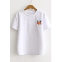 Fresh Basic Floral Embroidered Round Neck Short Sleeve Pullover Leisure T-Shirt