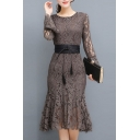 Glamorous Chic Belt Waist Bell Long Sleeve Plain Lace Midi Flare Dress