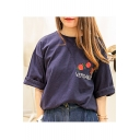 New Arrival Embroidery Floral Letter Pattern Short Sleeve Round Neck Loose Tee