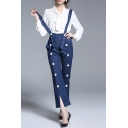 Women's Split Cuffs Striped Cropped Denim Overalls with Buttons