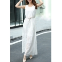 Leisure Sleeveless Round Neck Belt Waist Plain Lace Maxi Dress