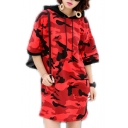 Fashion Drawstring Hooded Half Sleeve Camouflage Color Block Mini Sweatshirt Dress