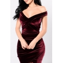 Plunge Neck Off The Shoulder Plain Velvet Mini Bodycon Dress