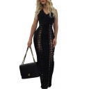 New Arrival Lace-Up Cutout Front Sleeveless Hooded V-Neck Plain Maxi Dress