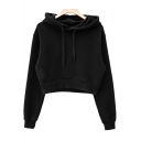 New Fashion Simple Long Sleeve Plain Sports Leisure Cropped Hoodie