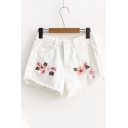 Ripped Floral Embroidered Fringe Hem Summer's Hot Pants Denim Shorts