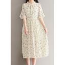 Summer's Fresh Bow Tie Short Sleeve Floral Printed Chiffon Midi Tea Dress