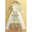 New Arrival Bohemia Stylish Embroidery Pattern Sheer 3/4 Length Sleeve Midi Dress with One Cami Inside