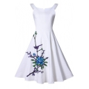 Vintage Floral Embroidered Sleeveless Zip-Back Midi Fit & Flare Dress