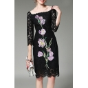 New Fashion Elegant Square Neck 3/4 Sleeve Floral Printed Lace Inserted Pencil Midi Dress