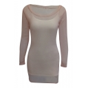Casual Sequined Mesh Patchwork Long Sleeve Plain Mini Bodycon Dress