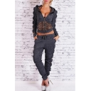 Women's Zipper Placket Long Sleeve Cropped Hoodie Sweatshirt with Drawstring Waist Leopard Sport Set