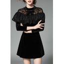 Glamorous Chic Ruffle Lace Front Zip-Back Long Sleeve Mini A-Line Dress with Pockets