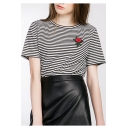 Fashion Striped Color Block Embroidery Floral Pattern Short Sleeve Round Neck Tee