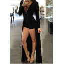 New Arrival Sexy Lace-Up Front Long Sleeve Plain Swallow-Tailed Rompers