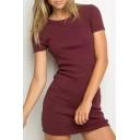 Slim Fashion Round Neck Short Sleeve Plain  Mini T-Shirt Dress