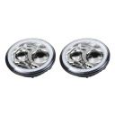 7 Inch 60W Chrome LED Headlight for Jeep Wrangler Hi/Lo Beam with RGB Angle Eye Cree LED 6500K Pack of 2