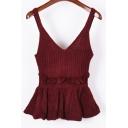 Fashion Sleeveless V-Neck Plain Ruffle Hem Knitted Cami Tank