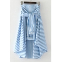 Knotted Ribbons Striped Printed High Low Hem Midi Asymmetrical Skirt