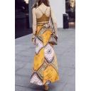Halter Neck Zip Back Sleeveless Cropped Top Boho Style Printed Slit Side Maxi Skirt Set