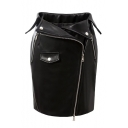 New Fashion Zip Fly Plain Mini Bodycon Leather Skirt