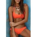 Spaghetti Straps Scallop Trim Plain Bikini Swimwear