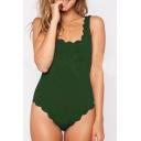 New Fashion Scallop Trim Square Neck Open Back Plain Slim One Piece Swimwear
