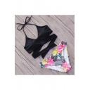 Halter Neck Crisscross Top Printed Bottom Bikini Swimwear