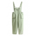 Lovely Cartoon Cat Embroidered Leisure Capri Overalls with Pockets