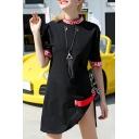 Round Neck Short Sleeve Letter Printed Split Side Mini T-Shirt Dress