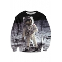 New Arrival Space Astronaut Printed Round Neck Long Sleeve Leisure Pullover Sweatshirt