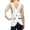 New Collection Crisscross Back Round Neck Plain Leisure Tank Top