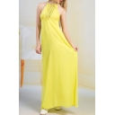 Hollow Out Sleeveless Halter Plain Chiffon Maxi Beach Dress