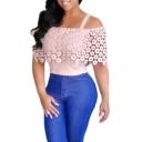New Stylish Lace Floral Patchwork Cold Shoulder Plain Blouse Top