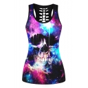 Galaxy Skull Printed Scoop Neck Hollow Out Back Sports Tank Top